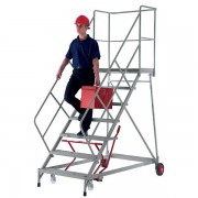 Certeo Plattformtreppe - mit 3-seitigem Podestgeländer - Plattformhöhe max. 2070 mm