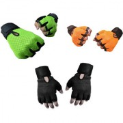 Snipper Combo of Heavy Leather Netted Gloves With Wrist Support(Pack of 3 Pair Gloves) Gym Fitness Gloves (Free Size