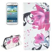 Lotus Pattern Flip Leather Case with Holder & Card Slots for Samsung Galaxy Grand Duos / i9082 Neo Plus / i9060