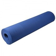 Strauss Eco-Friendly Single Texture TPE Yoga Mat 6 mm (Blue)