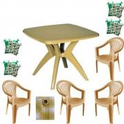 Set balcon masa cu 4 scaune Carnaval, culoare bej, 4 perne scaun, fata de masa, 150x150cm, Feijo, B001079