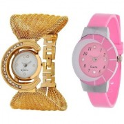 passion for fashion dual combo original golden and pink watch for women