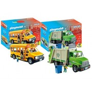 Playmobil City Life Playset Bundle with Green Recycling Truck and School Bus