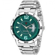 Svviss Bells Original Green Dial Silver Steel Chain Day and Date Multifunction Chronograph Wrist Watch for Men - SB-1024
