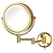 Jerdon Espejo de pared de dos lados con luz giratoria y aumento de 8 aumentos, 8.5 pulgadas, 67.2 onzas, Iluminado, Bright Brass