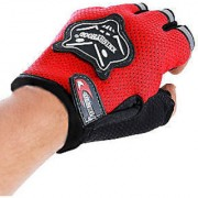 HALF KNIGHTHOOD FINGER RIDING GLOVES FOR ALL BIKES and scooty gloves...Red