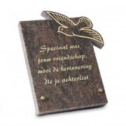 Gedenksteen 18x22cm met Vogel: Speciaal was jouw vrienschap