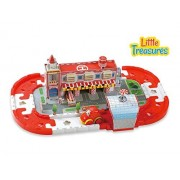 Little Treasures Kids Fire Station Tracks Set Building Block Track Educational Motor Skills Interlocking Toy To Help Your Child With Assembly With Cars Suitable For Girls And Boys 18 Months +