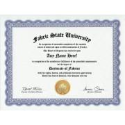 Fabric Fabrics Degree: Custom Gag Diploma Doctorate Certificate (Funny Customized Joke Gift - Novelty Item)