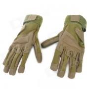 guantes al aire libre para alpinismo al aire libre con dedos llenos - verde militar (talla L / par)