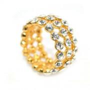 Cirkónia kristályos gyűrű, arany színű-7