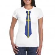 Bellatio Decorations Wit t-shirt met Zweden vlag stropdas dames