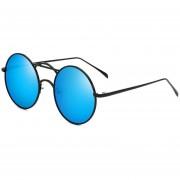 ER Diseño De Bastidor Redondo Vintage Moda Retro UV400 Gafas A Prueba De Rayos Ultravioleta -Marco Negro Lente Azul