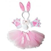 Petitebella Headband Bowtie Tail Gloves Tutu Unisex Children 5pc Girl Costume (Pink White Bunny)