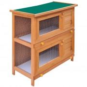 vidaXL Venkovní králikárna / domek pro drobná zvířata, 4 dvířka, dřevěná