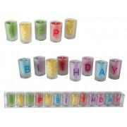 Set lumanari Happy Birthday colorate