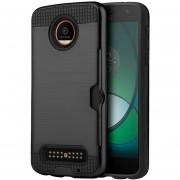 Funda Case para Motorola Moto Z Play Doble Protector de Plástico Card to Go para Uso Rudo-Negro