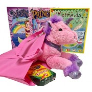 Princess And Her Pony 12 Inch Plush Pony, Three Activity Books, Crayola Coloring Crayons In Tote Bag Birthday, Get Well, Travel Activities Gift Set