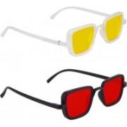 Zyaden Retro Square Sunglasses(Yellow, Red)