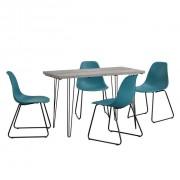 Set Porto masa design bucatarie cu 4 scaune design, Model 2, MDF/otel/plastic, 83 x 46 x 52 cm, efect beton/turcoaz