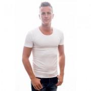 Garage T-Shirt Deep Round Neck Bodyfit White ( 0205) - Wit - Size: Medium