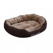 [en.casa] Cama para mascotas - cama para perros - con cojín reversible - tejido Oxford / Algodón-PP - 85 x 70 x 23 cm [L] - Marrón oscuro / Marrón claro