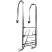 vidaXL Стълба за басейн с 3 стъпала, неръждаема стомана, 120 см