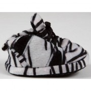 Geen Zachte baby slofjes zebra zwart/wit
