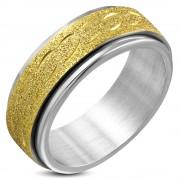 Arany és ezüst színű, középen forgó homokfújt nemesacél gyűrű-10