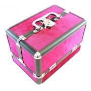 Cutie Organizator tip Valiza pentru Cosmetice, Compartimente Glisante, Culoare Roz