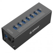 ORICO A3H7 Aluminum High Speed 7 Ports USB 3.0 HUB with 12V/2.5A Power Supply for Laptops(Black)