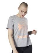 Reebok Classics Big Logo Graphic T-shirt - Medium Grey Heather / Sunglow - Size: Extra Small