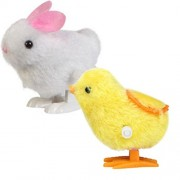 Baby Kids Education Toy FTXJ Cute New Infant Child Toys Hopping Wind Up Easter Chick and Bunny