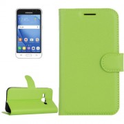 Samsung Galaxy J1 Pro Case, J1 (2016) Case, J120 Case, Litchi Texture Horizontal Flip Leather Case with Magnetic Buckle & Holder & Card Slots & Wallet(Green)