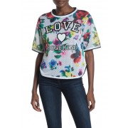 LOVE Moschino Logo Floral Print Jersey Top A00 PIXEL FLOW