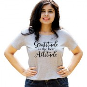 HEYUZE Gratitude Attitude Quote Grey Printed Women Cotton T-Shirts