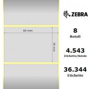 Etichette Zebra - Z-Ultimate 3000T Silver, formato 60 x 39