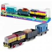 "Fisher Price Year 2011 Thomas & Friends Day Of The Diesels Series Trackmaster Motorized Tank Engine 3 Pack Train Set Oil And Trouble Dart With Wagon Car Loaded With ""Hose"" Crate And Brake Van"