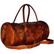 "iHandikart Handmade Leather Bag | Duffle Bag | Travel Bag | Gym & Yoga Bag | 18"" x 10"" x 10"" Travel Duffel Bag(Brown)"