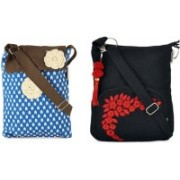Pick Pocket Combo of Awesome Blue and Brown Flap Sling with Black Small Sling Bag School Bag(Blue, 5 inch)