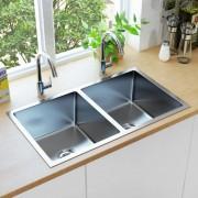 vidaXL Ръчно изработена кухненска мивка с цедка, неръждаема стомана