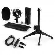 Auna CM001B Juego de micrófono de condensador Convertidor USB Soporte Negro (60002016-V1KO)