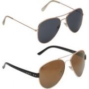 Vast Aviator Sunglasses(Grey, Brown)