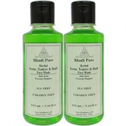 Khadi Pure Herbal Neem Teatree and Basil Face Wash SLS-Paraben Free - 210ml (Set of 2)