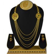 Pourni Traditional Long Necklace Set with Earring Jhumka for bridal jewellery Antique Finish necklace Set - ANK04