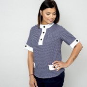 Női rövid ujjú póló, finom kék mintázattal 10830