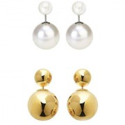 Chrishan high gold plated combo of deigner alloy pearl stud earring set for women and girls.