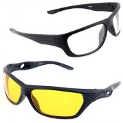 Day & Night Glasses Night Driving NV NIGHT VIEWGlasses In Best Price Real NightClub Yellow Color PACK OF 2 (AS SEEN ON TV)