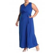 London Times Wrap Front Sleeveless Jumpsuit Plus Size AZURE BLUE