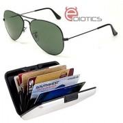 Ediotics Classic Greenish Aviator Style Designer Sunglasses for Men & Alumi Wallet Combo